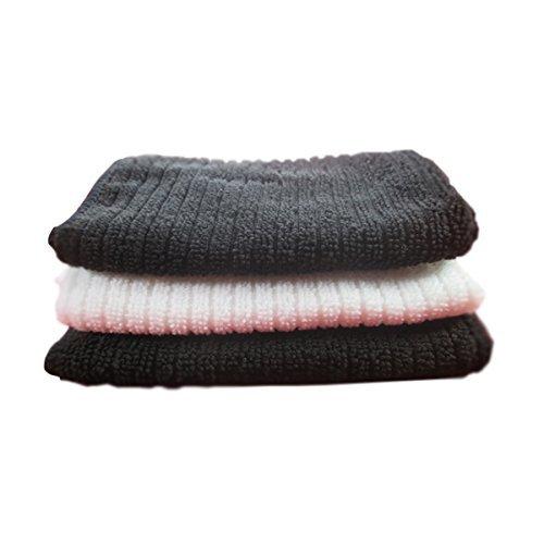 3x Luxus Face Tücher, Sehr weich, für trockene und empfindliche Haut, Gesicht Super Schweiß saugfähig Weiche Microfaser Tücher (Schwarze Microfaser-stoff-handtaschen)
