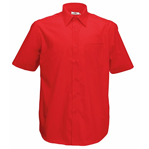 Fruite of the Loom Herren Poplin Kurzarm Business Hemd, vers. Farben Rot - Rot