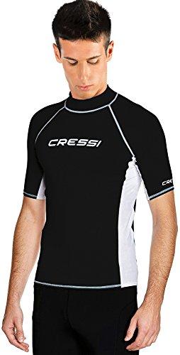 Cressi Herren T-shirt Rash Guard UV Sun Protection (UPF), Schwarz/Weiß, Gr. 58 (Herstellergröße:XXXL/7)