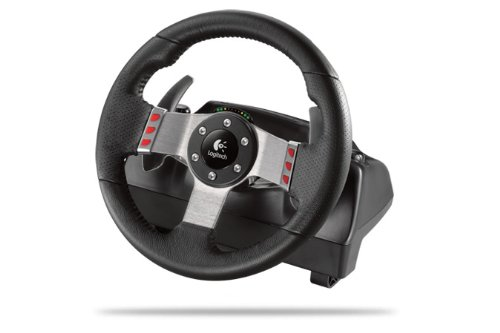 Logitech 941-000046 G27 Racing Wheel Volant pour jeux video Retour de force à deux moteurs Levier six vitesses Cuir cousu main Pédales d'accélérateur, de frein et d'embrayage 16 boutons programmables et une manette directionnelle Témoins de changement de vitesse Compatible PC/PS2/PS3
