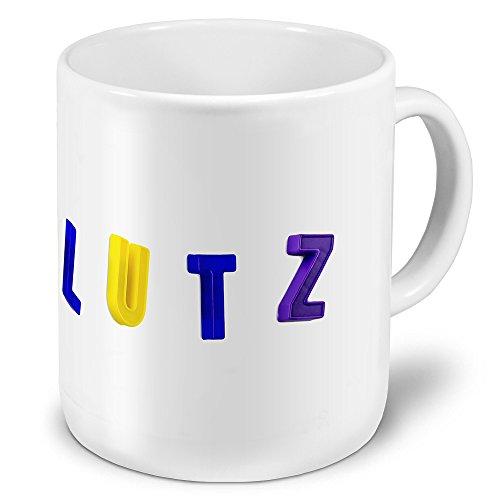 """XXL Riesen-Tasse mit Namen \""""Lutz\"""" - Jumbotasse mit Design Magnetbuchstaben - Namens-Tasse, Kaffeebecher, Becher, Mug"""