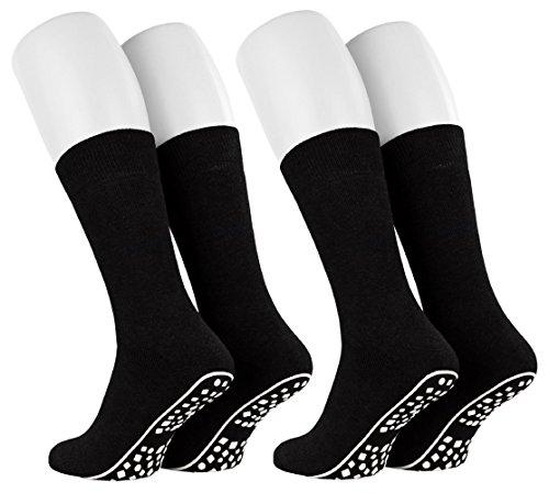 Tobeni 2 Paar Home Socks ABS Stoppersocken Anti-Rutsch Baumwolle Socken für Damen und Herren Farbe Schwarz Grösse 35-38