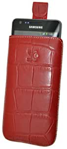 Suncase Ledertasche mit Rückzugsfunktion für das Samsung Galaxy S2 Plus (i9105P) und Galaxy S2 (i9100) S2 in croco-rot