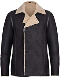 Infinity Leather Cappotto in Pelle di Montone in Doppiopetto Cachi Tedesco  Uomo 4f7fa85b341