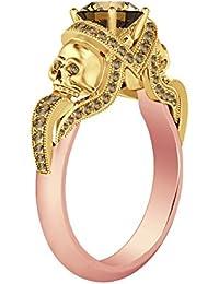 Silvernshine 1.52Ct Citrine CZ Diamond Engagement Two Skull Design Ring 14K Rose & YellowGold PL