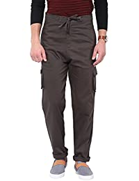 Hypernation Grey Color Twill Cotton Cargo Pant For Men
