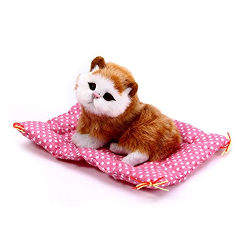 HENGSONG Cute Simulation Cat Toys with Sound Kittens Cat Toys Doll Plush Toys Gifts for Kids Boys Girls (Yellow cat)