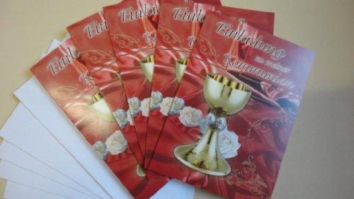 """Karten """"Einladung zu meiner Kommunion"""" in Rot, 5 Stück mit Umschlägen"""