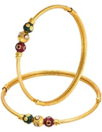 The Luxor Gold Plated Maroon & Green Ethnic Bangle Set For Women