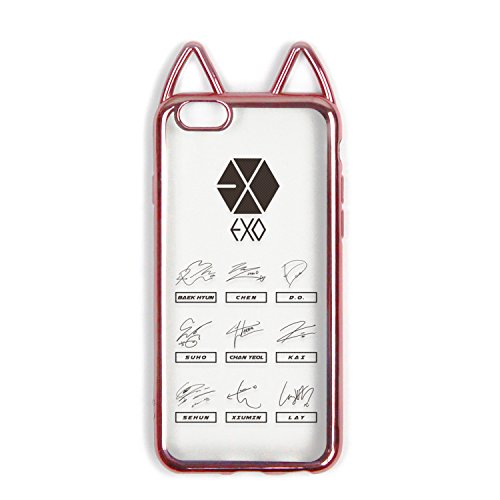fanstown Krop galvanisiert Rosa Rahmen Transparent Silikon Gummi Korean Style Cute Cat Ohr Idol Signature iPhone 6/6S Fall, EXO (Koreanische Iphone 6 Fall)