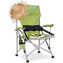 Relaxdays Silla Plegable de Camping XL, Aluminio y Poliéster, Verde, 102x66x61 cm