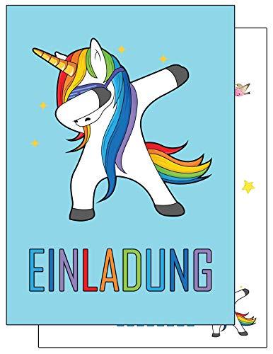 company 15 Einladungskarten Kindergeburtstag Dabbing Einhorn Geburtstagseinladungen Einladungen Geburtstag Kinder Jungen Mädchen (15 Karten mit 15 Umschlägen Briefumschlägen) ()