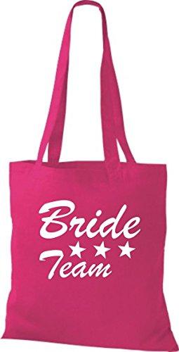 Shirtstown Stoffbeutel JGA Bride Team viele Farben fuchsia