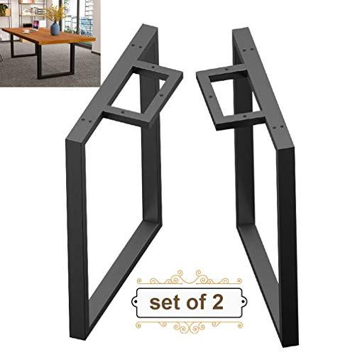 Refue 2 x Tischbeine aus Metall, U-Form Möbelbeine für Tisch, Schreibtisch oder Workstation, Dauerhaft, Kaliber 50 × 30 mm, Mit verstellbaren Schutzfüßen und Befestigungsschrauben