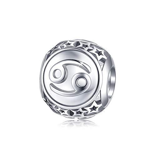 """FOREVER QUEEN 12 Konstellationen Serie Damen Bead Charms 925 Sterling Silber Platin Sternzeichen Perlen Anhänger für Halskette für Charms Armband Nickelfrei BJ09028 \""""MEHRWEG\"""""""