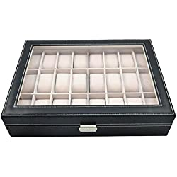 DoubleBlack 24 Watch Display Case Watch Box Faux Leather Black