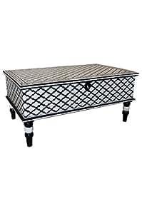 Marokkanischer Tisch Couchtisch Dinara 100cm Weiss Schwarz
