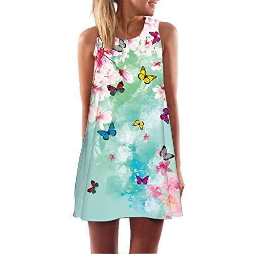 iYmitz Damen Sommer Vintage Boho Ärmelloses Sommerstrand Gedruckt Kurzes T-Shirt Minikleid Blumenkleid Trägerlose Tops(Z2-Weiß,EU-44/CN-2XL)