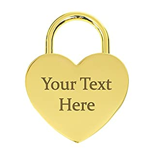Personalised Engraved Love Locks Single Padlock & Double Heart Padlocks - Valentines Wedding Gift (Single Heart, Text Only)