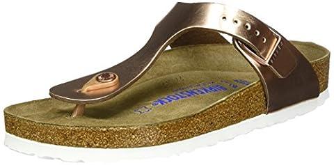 Birkenstock Classic Damen Gizeh Leder Softfootbed Zehentrenner, Braun (Metallic Copper), 38 EU