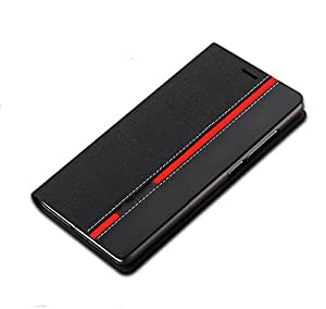Defender Royal Bumper Leather Flip Cover Case with Card Slot, Convertible Back Stand for Micromax YU Yuphoria (Black + Black)