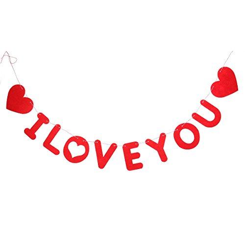 (LUOEM I Love You Banner Hochzeitsdekoration Banner Buchstaben Girlande zum Hochzeitstag Valentinstag Dekorationen (rot))
