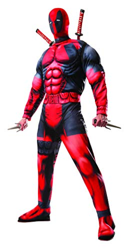Luxuspiraten - Herren Männer Deadpool Deluxe Kostüm mit Muskelpolster Overall und Maske, perfekt für Karneval, Fasching und Fastnacht, M/L, Rot