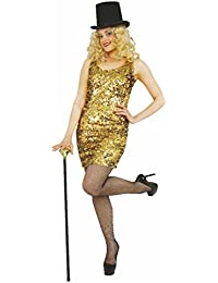 Disfraz Las Vegas Fiesta de Mujer (Tallas XS – L, Oro Lentejuelas Vestido Charleston