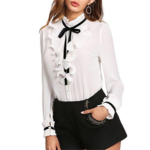 Jianyin Kragen Langarm Bluse Frauen Weiße Krawatte Hals Plissee Rüschen Knopfleiste Button Oben Mädchen Schule Shirt Stehen (Patchwork Shirt Plaid Gewebt)