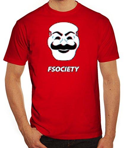 Hacker Serie Herren T-Shirt mit FSociety Motiv von ShirtStreet Rot