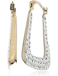 Crystelle - 340310316 - Boucles d'Oreilles Créoles Femme - Or Jaune et Blanc 375/1000 - Carrée - Cristaux Swarovski Blancs