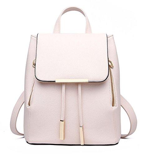 Rucksack Damen Lässig Eimer-Typ Abgedeckt Typ Mode Handtaschen White