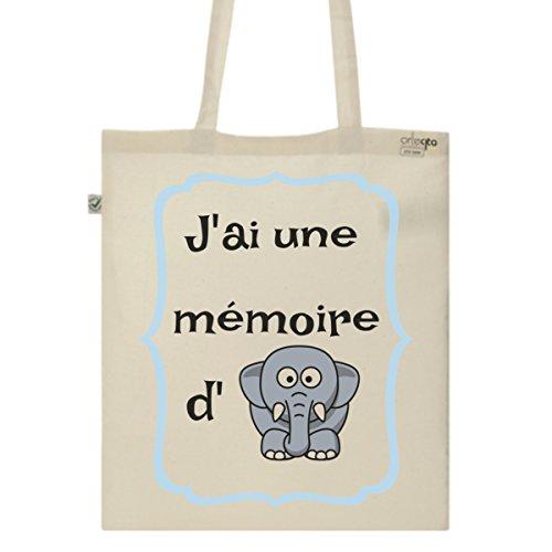 Tote Bag Imprimé Ecru - Toile en coton bio - Une mémoire d'éléphant