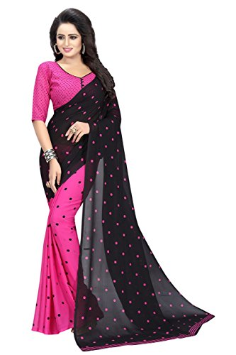 J B Fashion Women's Georgette Sarees With Blouse Piece (Goli-Pink)