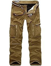 AYG Mens Warm Cargo Trousers Polar Fleece Thickened Cargo Camo Pants Combat Wiast