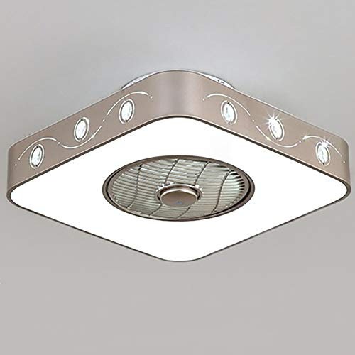 Moklo Deckenventilator mit Beleuchtung, Deckenventilator aus unsichtbarem Acrylglas, 24-Zoll-LED-Fernbedienung, 3-stufiger, dimmbarer Beleuchtungsventilator (weiß) -