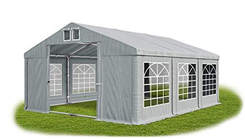 Das Company Partyzelt 4x6m wasserdicht grau mit Bodenrahmen und Dachverstärkung 560g/m² PVC Plane Robust Festzelt Gartenzelt Summer Plus SD