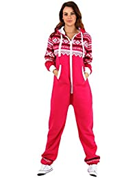 b6f5299e098 FATALFASHION Womens Ladies Aztec Print Hooded Zip Up Zipped Onesie Jumpsuit  Plus Size XL XXL XXXL…