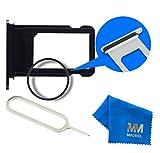 MMOBIEL Sim Karte Schlitten Tray Holder Halterung Nano Slot Ersatzteil für iPhone 7 4.7 inch (Schwarz) Incl. Waterproof Rubber Ring + Sim Open Eject Pin und Mikrofaser Tuch