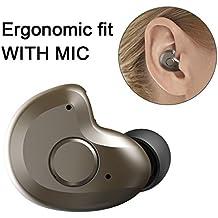 mini Auricular Bluetooth 4.1, AngLink Auricular Manos Libres Bluetooth in-ear con Micrófono para Móvil iPhone y Android - marrón, Sólo 3,8 g