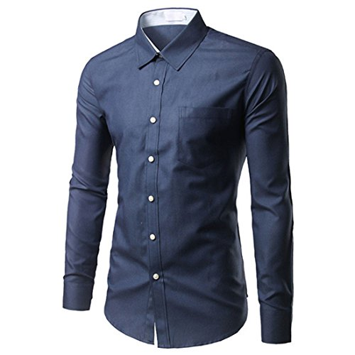 Men's Chemise Homme Long Sleeve Slim Fit Dress Shirts Navy blue
