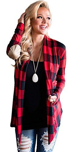 Elbow Patch et encolure drapée effet Cascade Drapée Drapé Plaid Tartan Vichy Check Carreaux Cardigan Gilet Coat Manteau Blouse Chemisier Shirt Chemise Haut Top Rouge Noir