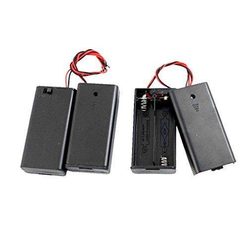 Sourcingmap 3pcs Embout Plat Noir étui Rangement Batterie Support 2 x 1.5V AA Piles