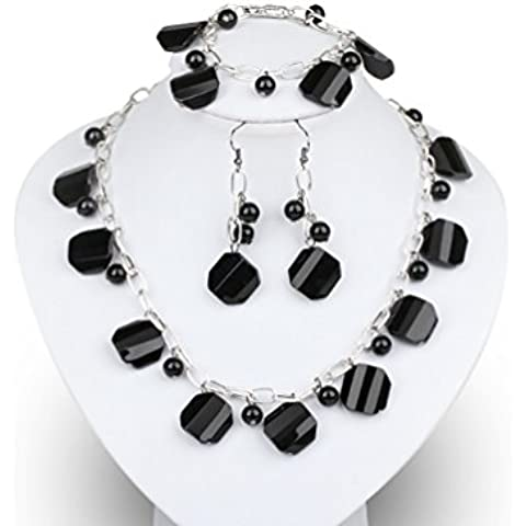 TreasureBay agata nera e Cristallo Perline Collana, bracciale e orecchini set di gioielli ciondolo stile, spediti in una lussuosa confezione regalo - Collana Agata Nera Di Cristallo