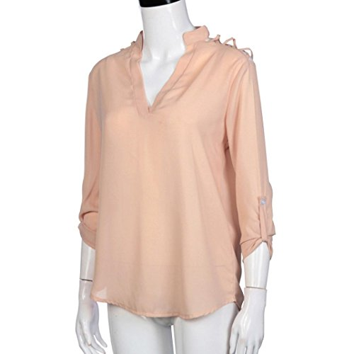 Bonjouree Chemisier Manche Longue Chemise Col V Mousseline de Soie Top Blouse Femme Fluide Tunique Haut Chic T-Shirt Rose
