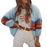 feiXIANG Damen Strickjacke Langarm Outwear Mantel Casual Cardigan Streifen Wintermantel (Blau,M)