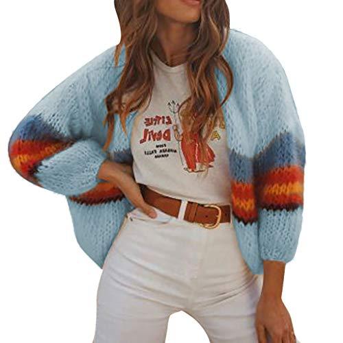 Orchgas Damen Feinstrick Pullover Winterjacke Warm Strickjacke Cardigan Strickpullover Klass Sweater Cardigan Outwear Feinstrick Pulloverisch Vintage Stricken Rollkragen - Ribbed Knit Striped Sweater