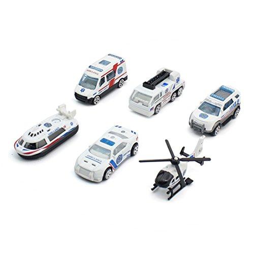 GEHOO GH Fernbedienung Auto 1:64 Legierung Mini Kinder Spielzeug Skala Auto RC Auto LKW Fahrzeug Modell 6 Teile / Satz (Krankenwagen-Serie)