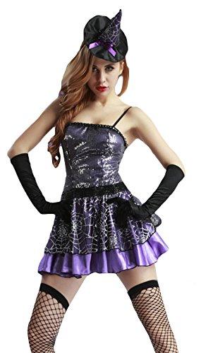 La vogue Damen Hexe Kostüm Zauberin Kleid Cosplay Verkleidung für Halloween und Karneval Taile (Kurven Kostüme Hüften Und)