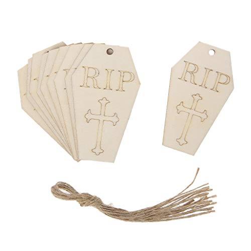 (baoyl 100Holz Halloween Grabstein zum Aufhängen Anhänger Home Party Decor DIY Ornaments mit Seil Funny)